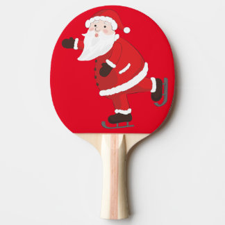 Santa Claus on ice skates Ping Pong Paddle