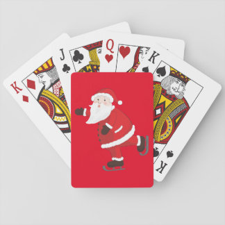 Santa Claus on ice skates Playing Cards