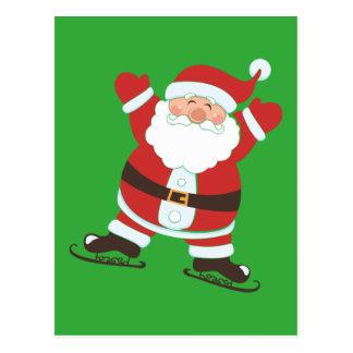 Santa Claus on Ice Skates Postcard