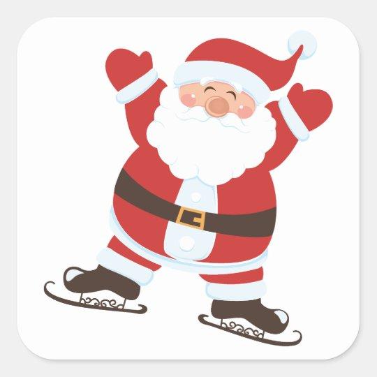 Santa Claus on Ice Skates Square Sticker