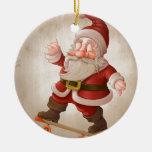 Santa Claus on skateboard Round Ceramic Ornament