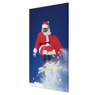 Santa Claus on skis jumping off a cornice at Gallery Wrapped Canvas