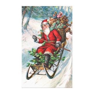 Santa Claus on Sleigh Canvas Prints