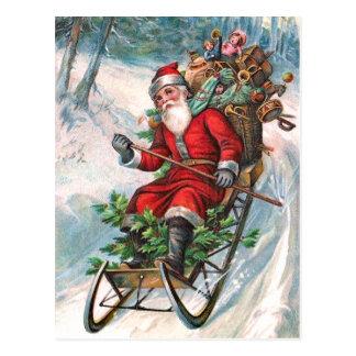 Santa Claus on Sleigh Postcard