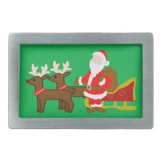 santa claus on the christmas sleigh belt buckle