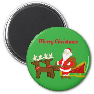 santa claus on the christmas sleigh magnet