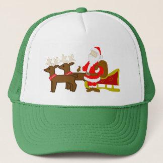 santa claus on the christmas sleigh trucker hat