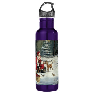 Santa claus painting - christmas art 710 ml water bottle