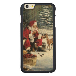 Santa claus painting - christmas art carved maple iPhone 6 plus case