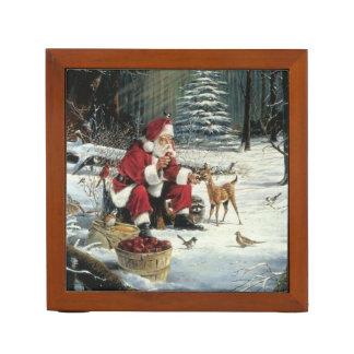 Santa claus painting - christmas art desk organizer