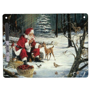 Santa claus painting - christmas art dry erase board with keychain holder
