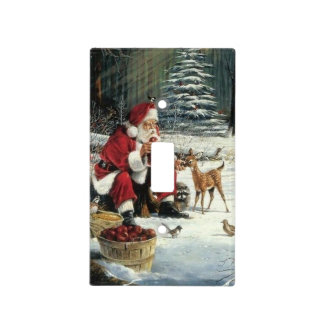 Santa claus painting - christmas art light switch cover