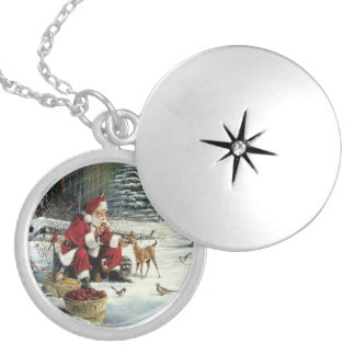 Santa claus painting - christmas art locket necklace