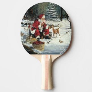 Santa claus painting - christmas art ping pong paddle