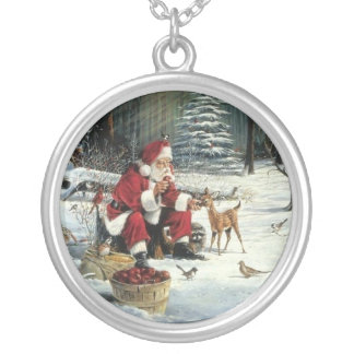 Santa claus painting - christmas art silver plated necklace