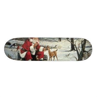 Santa claus painting - christmas art skateboard deck