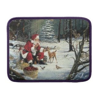 Santa claus painting - christmas art sleeve for MacBook air