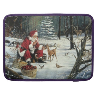 Santa claus painting - christmas art sleeve for MacBooks