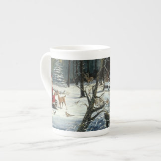 Santa claus painting - christmas art tea cup