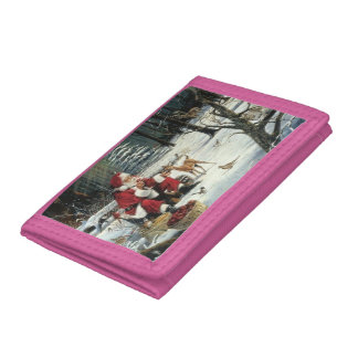 Santa claus painting - christmas art tri-fold wallet