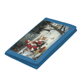 Santa claus painting - christmas art trifold wallet