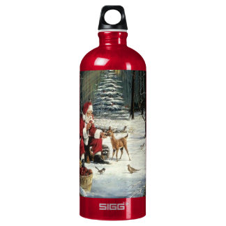 Santa claus painting - christmas art water bottle