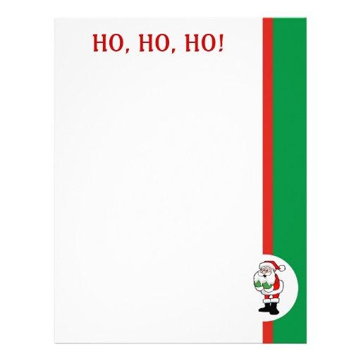 Santa Claus Paper Ho, Ho, Ho Letterhead Template