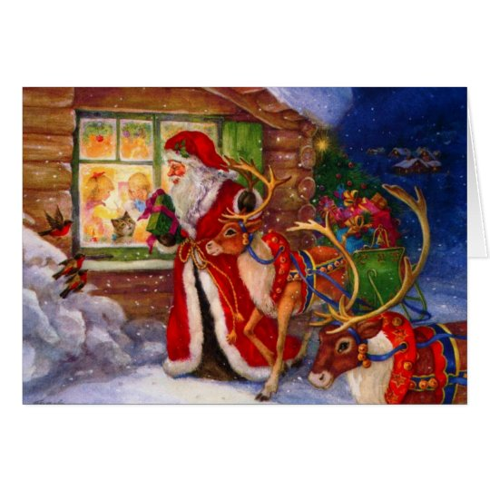 Santa Claus Peeking Through The Window Card