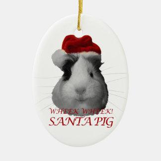 Santa Claus Pig Guinea Pig Christmas Holidays Ceramic Oval Ornament