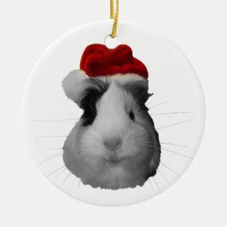 Santa Claus Pig Guinea Pig Christmas Holidays Round Ceramic Ornament