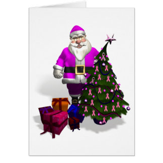 Santa Claus Pink Ribbons Card