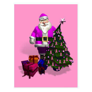 Santa Claus Pink Ribbons Postcard