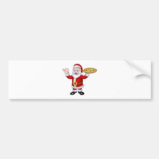 Santa Claus Pizza Christmas Cartoon Character Bumper Sticker