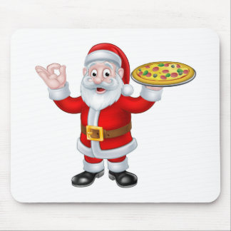 Santa Claus Pizza Christmas Cartoon Character Mouse Pad