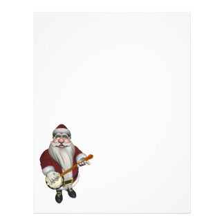 Santa Claus Playing Banjo Custom Letterhead