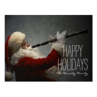 Santa Claus Playing Clarinet Postcard