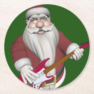 Santa Claus Playing Electric Guitar Round Paper Coaster