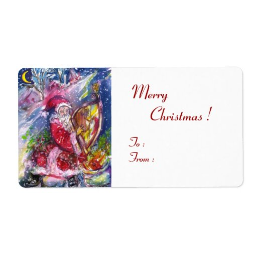 SANTA CLAUS PLAYING HARP IN THE MOONLIGHT CUSTOM SHIPPING LABELS