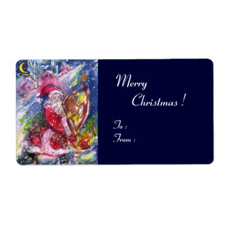 SANTA CLAUS PLAYING HARP IN THE MOONLIGHT SHIPPING LABEL