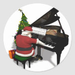 Santa Claus Playing Piano Round Stickers