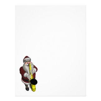 Santa Claus Playing Saxophone Letterhead Design