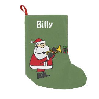 Santa Claus Playing Trumpet Christmas Stocking Small Christmas Stocking