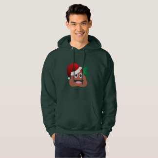 santa claus poop emoji mens hooded sweatshirt