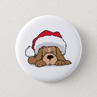 Santa Claus Puppy 2 Inch Round Button