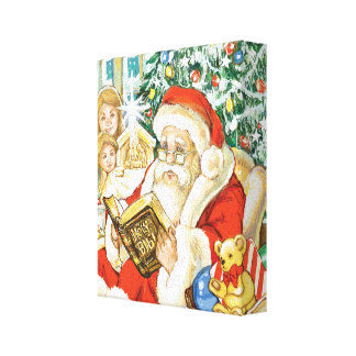 Santa Claus Reading the Bible on Christmas Eve Canvas Prints
