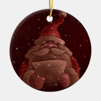 Santa Claus reads Ceramic Ornament