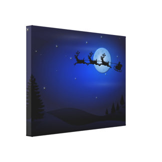Santa Claus Reindeer and Sleigh over Moon Canvas Print