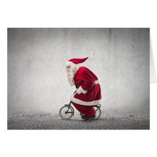 Santa Claus Rides A Bicycle Card