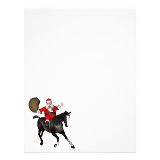 Santa Claus Riding A Black Horse Letterhead