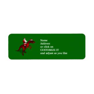 Santa Claus Riding A Dinosaur Labels